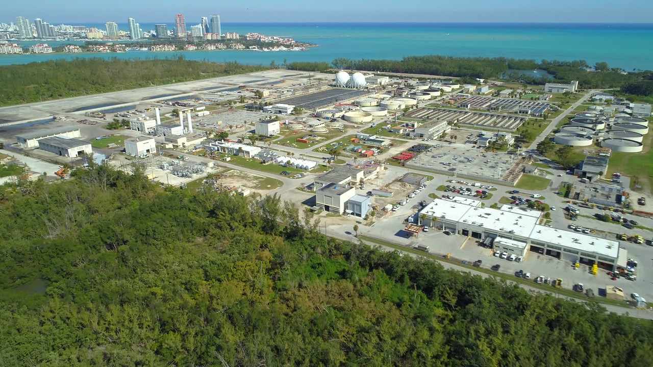 Aerial footage Virginia Key Biscayne Central District Treatment Plant 4k