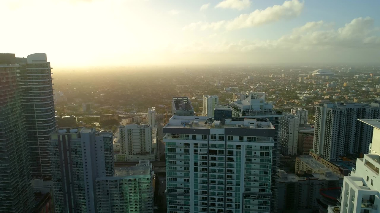 Sunset in the city aerial video clip Miami Brickell 4k 60p