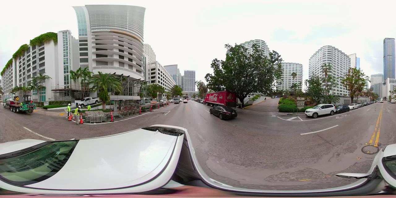360 vr footage virtual reality Brickell Bay Drive plate Miami Florida USA
