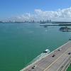 Aerial footage Miami Rickenbacker Causeway Biscayne Bay