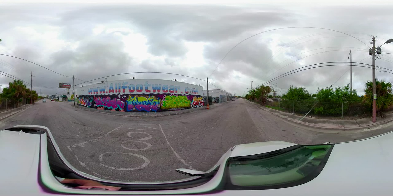 360vr footage graffiti art walls Wynwood Miami Florida USA