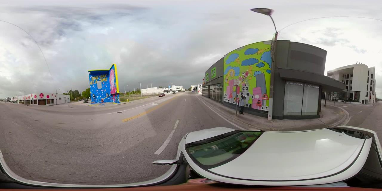 360vr stabilized video Design district Miami driving plates