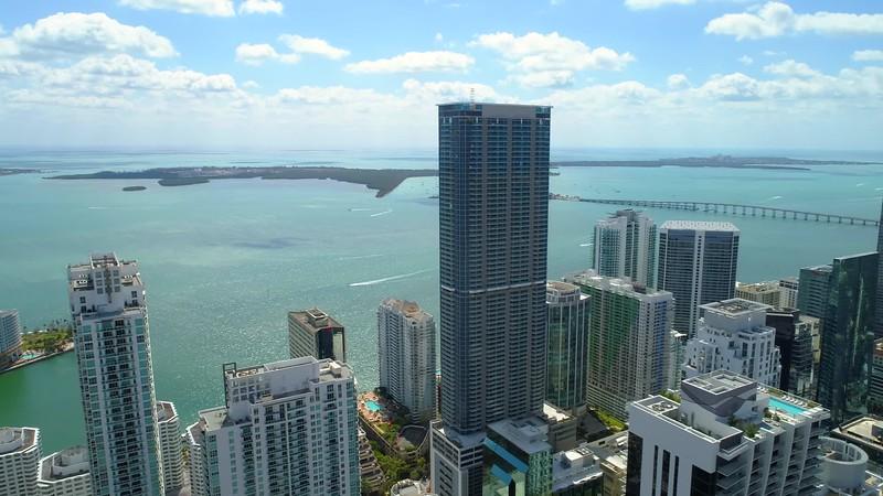 Scenic aerial tour Brickell Miami FL 4k