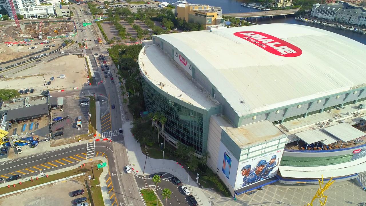 Aerial panorama shot Amalie Arena Stadium Tampa FL 4k 60p