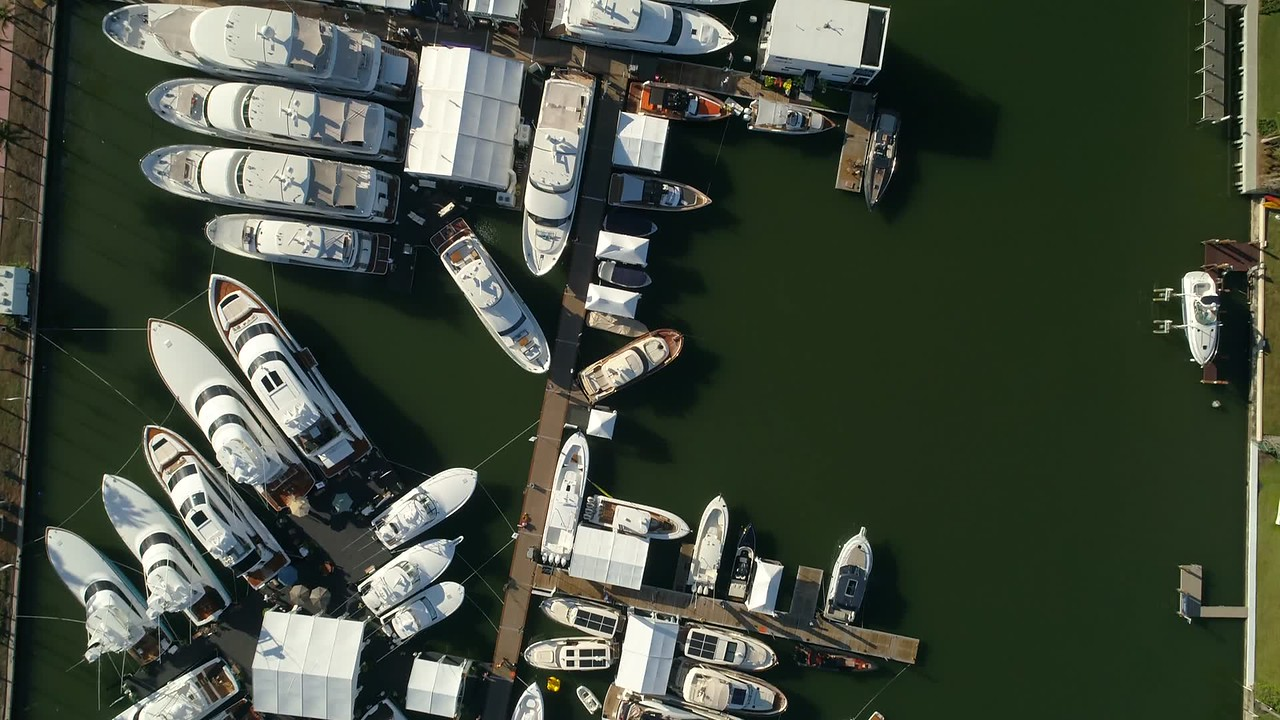 Aerial slow motion footage Miami Beach boat show 4k