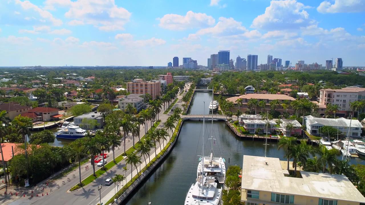 Drone shot of Las Olas Isles Fort Lauderdale Florida aerial video footage 4k