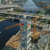 Drone shot NBC Tower Tampa FL National Broadcasting Company 4k