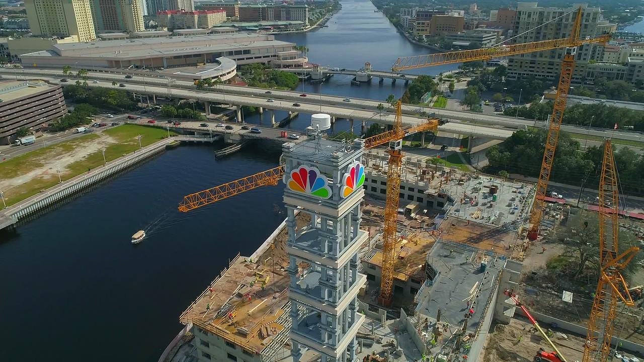Drone shot NBC Tower Tampa FL National Broadcasting Company 4k