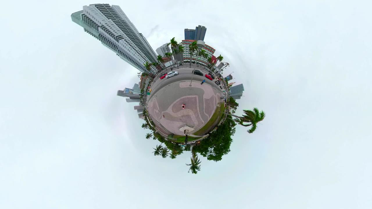 Tiny planet of Downtown Miami