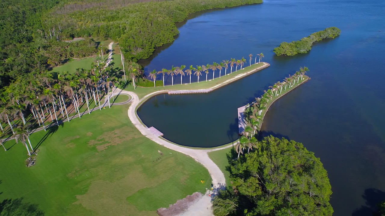 Deering Estate lawn Miami aerial footage