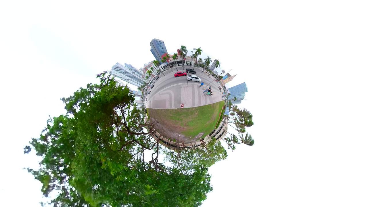 Miniature Planet motion video Downtown Miami Bayside