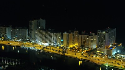Night aerials Miami Beach Collins Avenue 45th Street