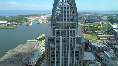 Regions skyscraper Mobile Alabama aerial drone orbit footage