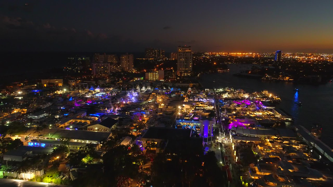 Stock night drone video Fort Lauderdale boat show 2017