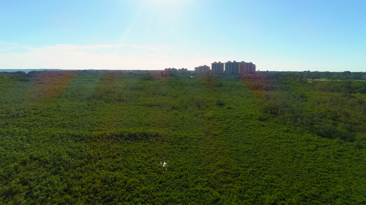 Aerial video nature landscape in Florida Biscayne Bay