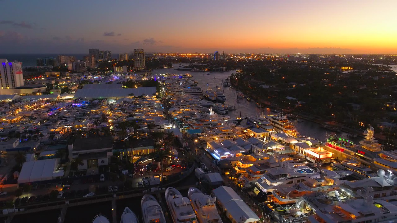 Drone footage twilight aerial Fort Lauderdale International Boat Show 2017
