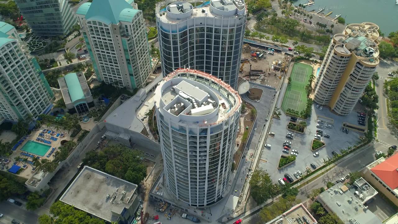 Coconut Grove Florida Miami aerial tilt up reveal drone footage