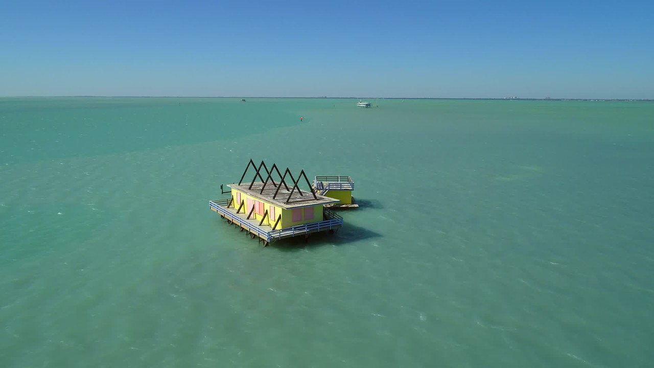 Historical Stiltsville homes Miami Biscayne Bay 4k aerial drone shot