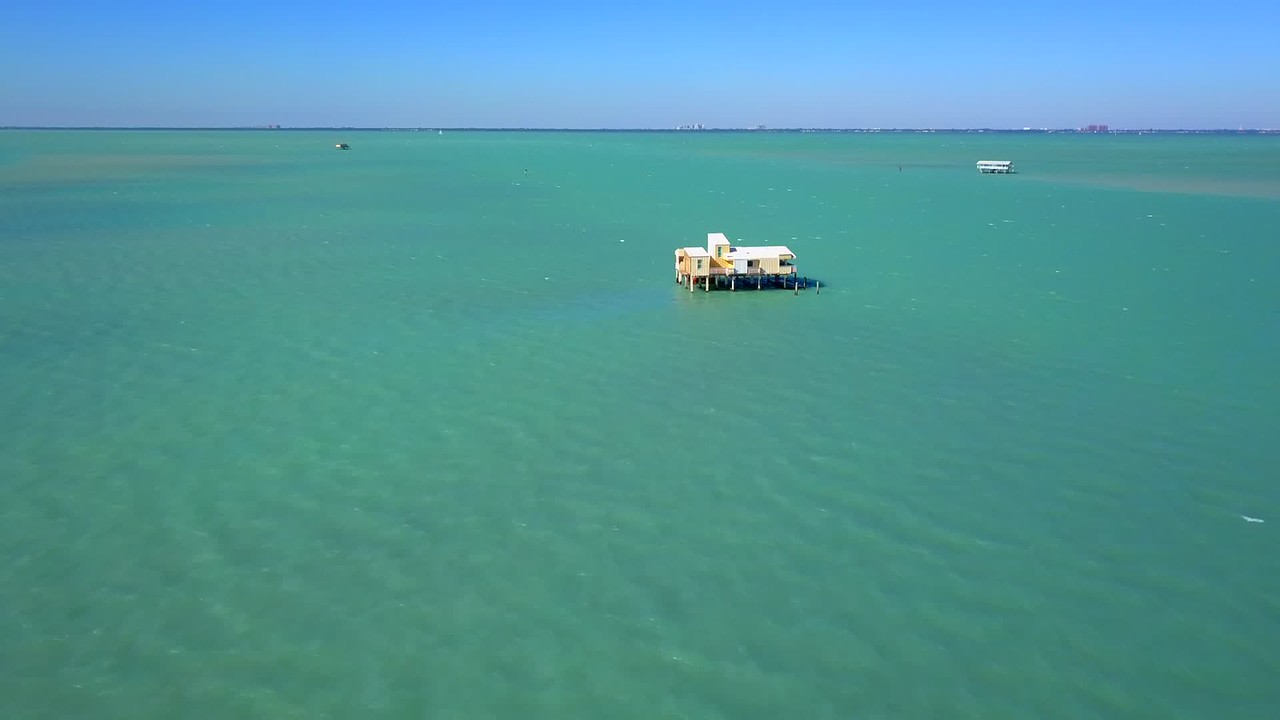 Stock video footage Stiltsville wood stilt houses Biscayne Bay Miami Florida 4k 24p