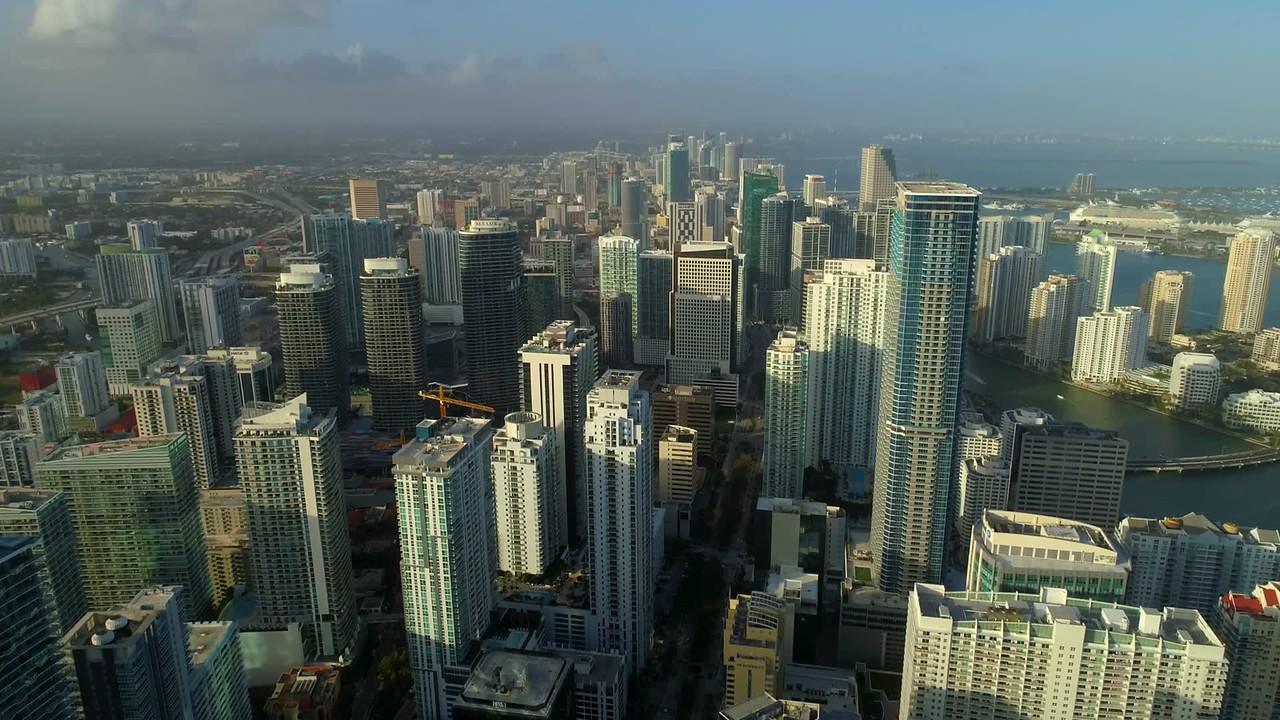 Brickell Miami landscape skyscrapers cityscape 4k 60p