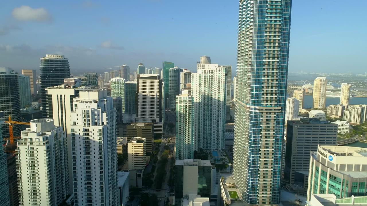 Aerial drone footage Brickell Miami Florida skyscrapers