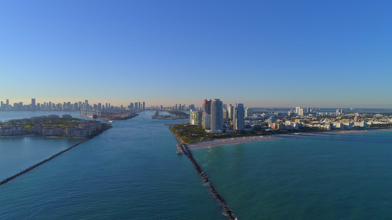 Drone aerial cinematic footage Miami Beach commercial use 4k