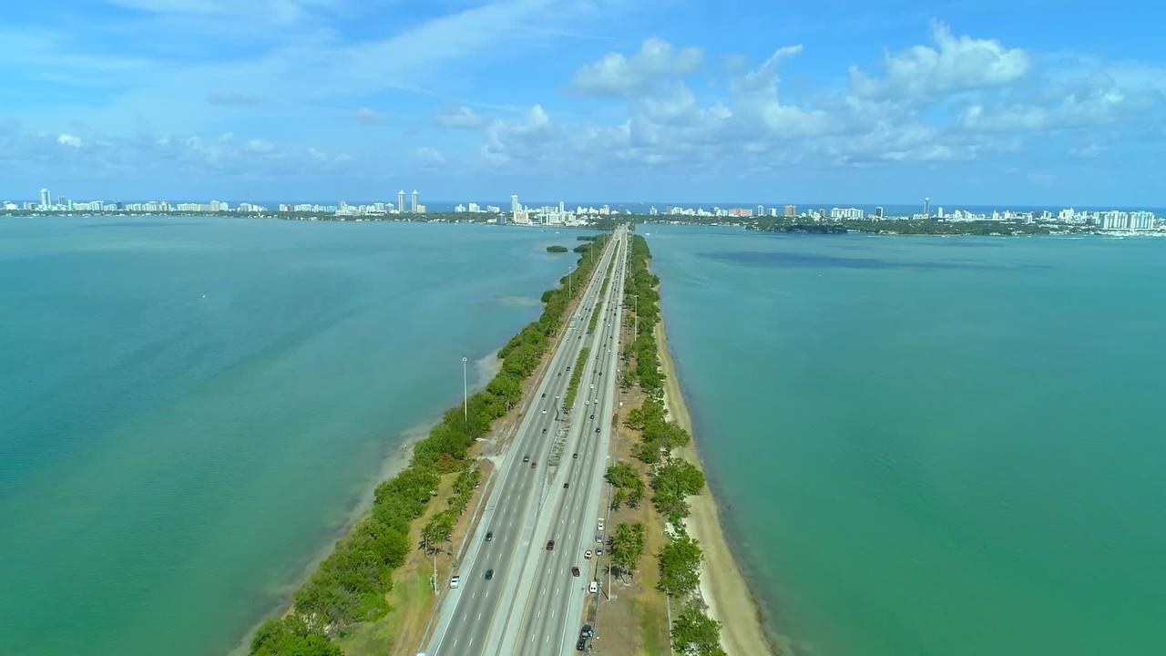 Miami aerial Julia Tuttle Causeway bridge to the beach