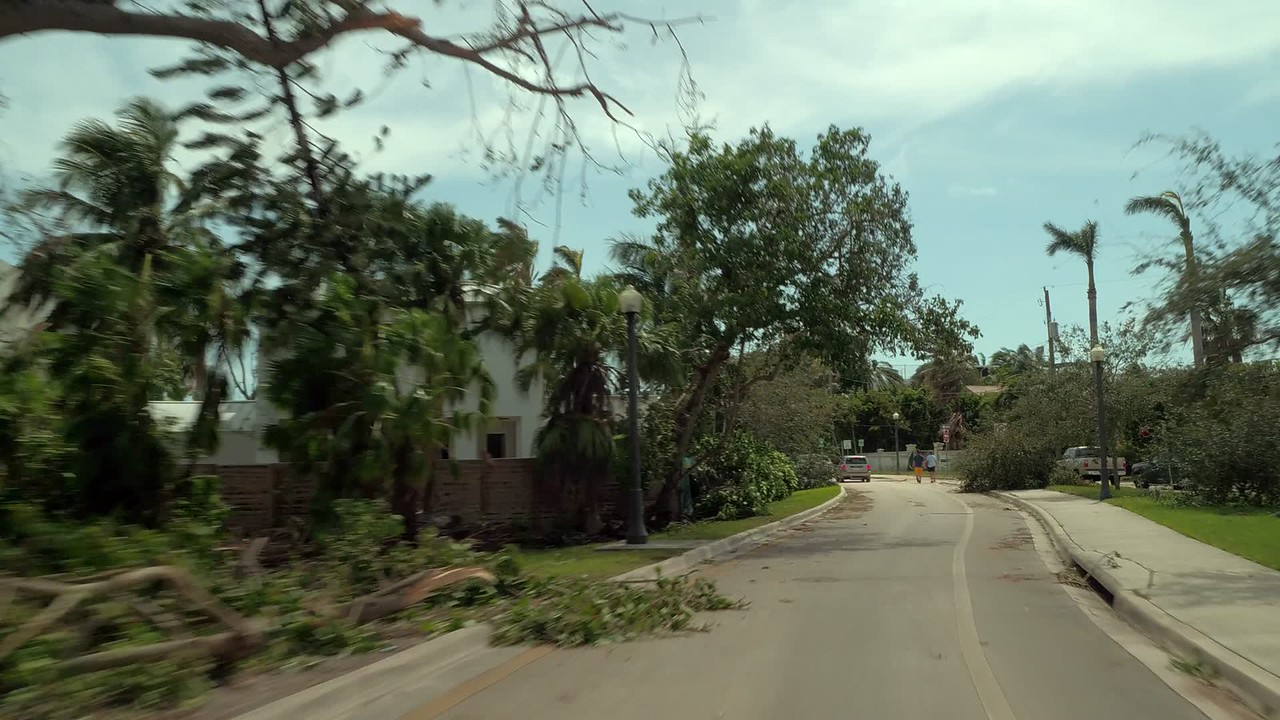 Motion ground footage Venetian Islands after Hurricane Irma