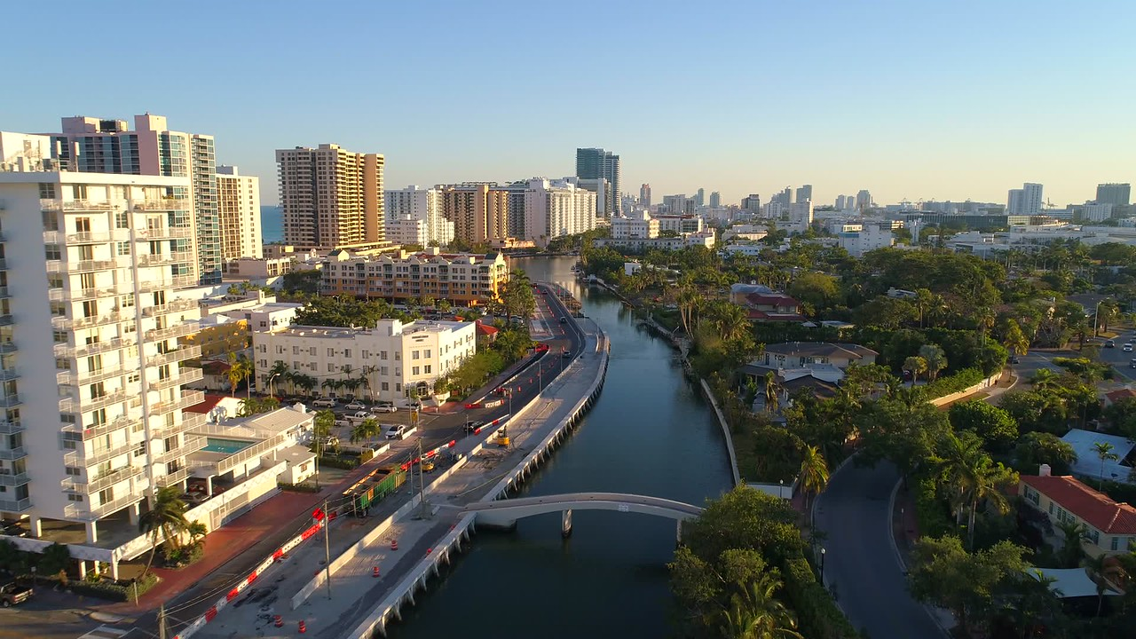 Drone footage Miami Beach Indian Creek canal 4k