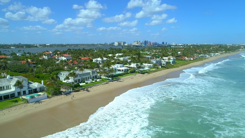 Luxury mansions on the beach drone video footage
