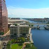 Aerial drone video Tampa FL CapTrust building on the Hillsborough River