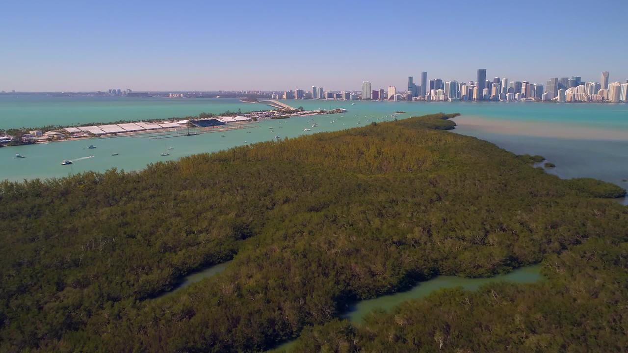 Aerial scenic footage Florida Rickenbacker Causeway Brickell