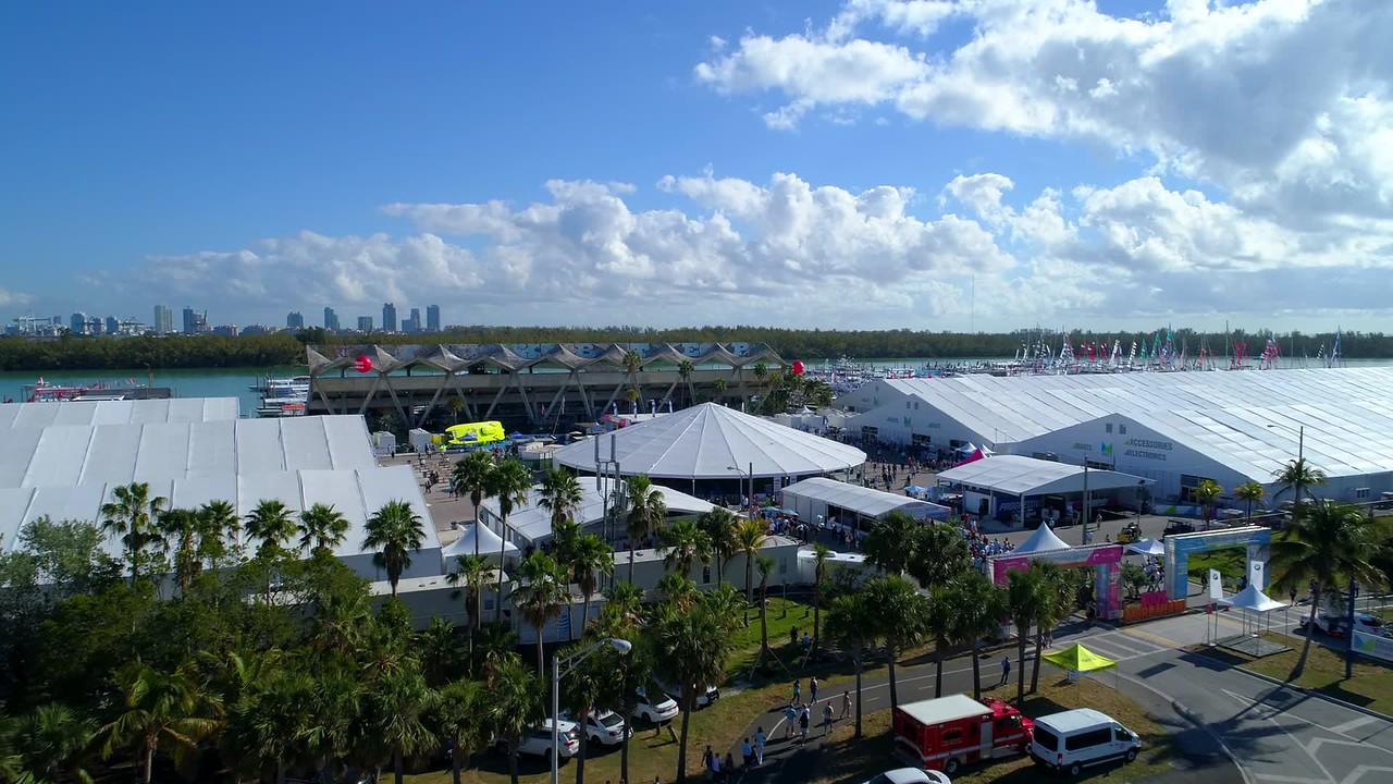 Aerial drone video boat show Miami