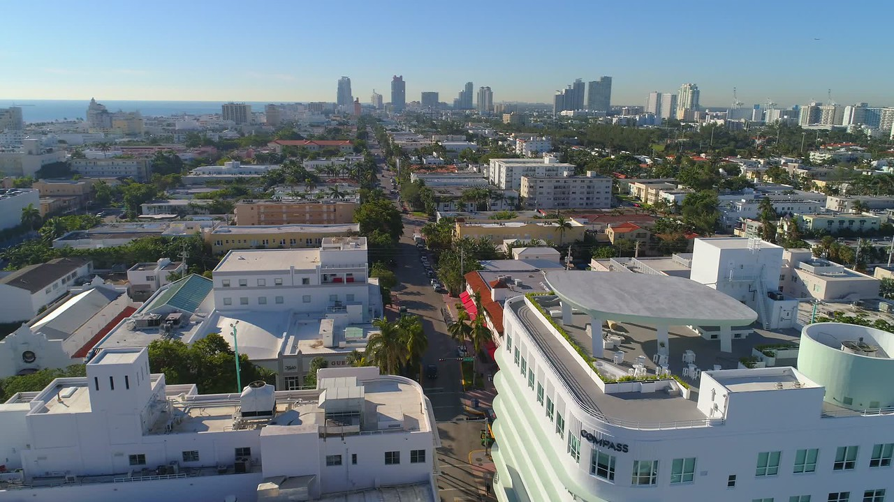 Aerial reveal Lincoln Road Miami Beach drone footage 4k 24p