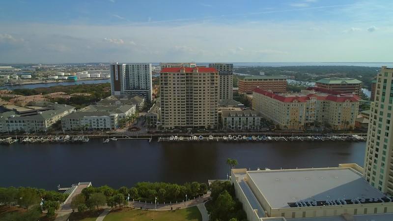 Aerial shot rental condominiums Harbour Island Tampa FL USA