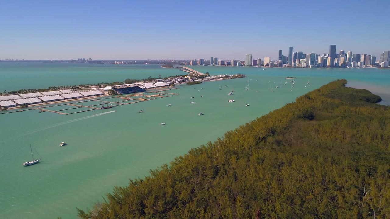 Aerial Brickell Bay Rickenbacker Causeway Miami 4k drone footage
