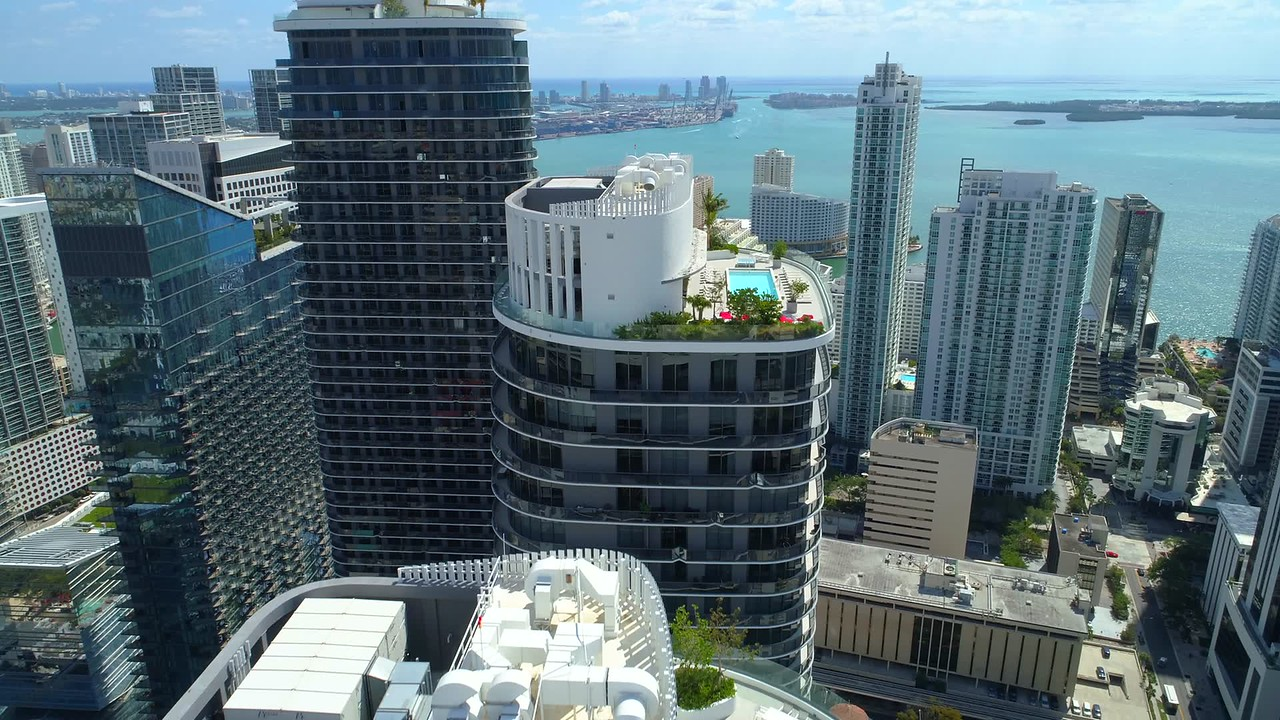 Rooftop Brickell aerial flyover tour Miami 4k