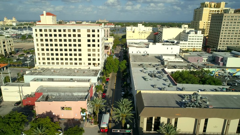 Drone video Downtown West Palm Beach Clematis Street 4k 60p