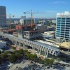 Aerial rise over reaveal Miami Central Station Brightline