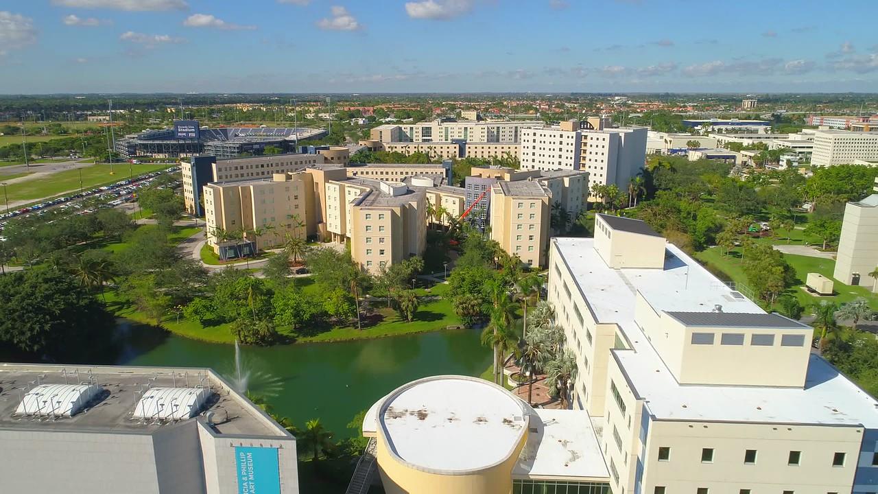 Aerial droen tour of FIU college Miami FL