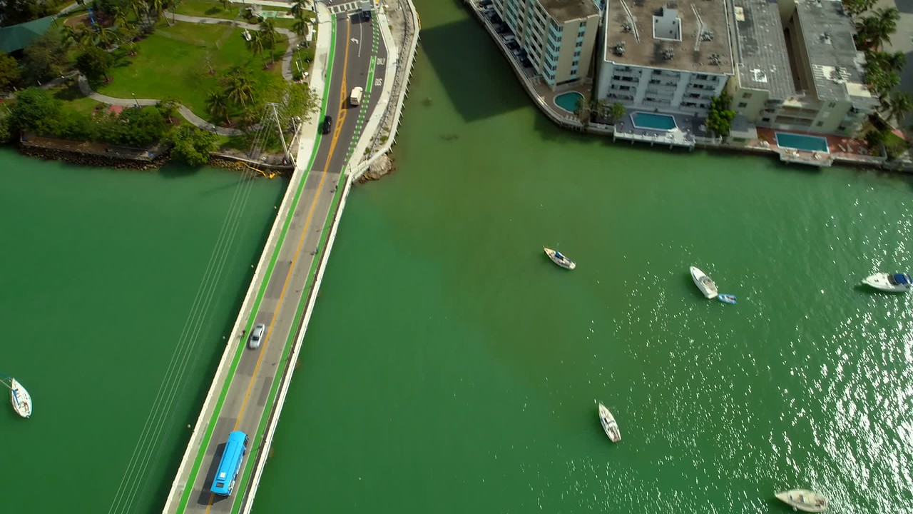 Aerial drone footage Miami Beach Maurice Gibb Memorial Park and Sunset Harbour
