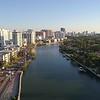 Aerial hyperlapse drone Indian Creek Miami Beach FL