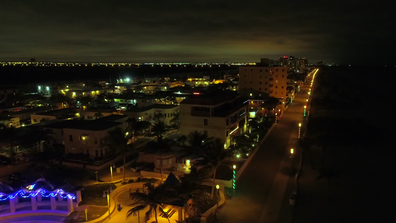 Aerial video Hollywood Beach FL at night