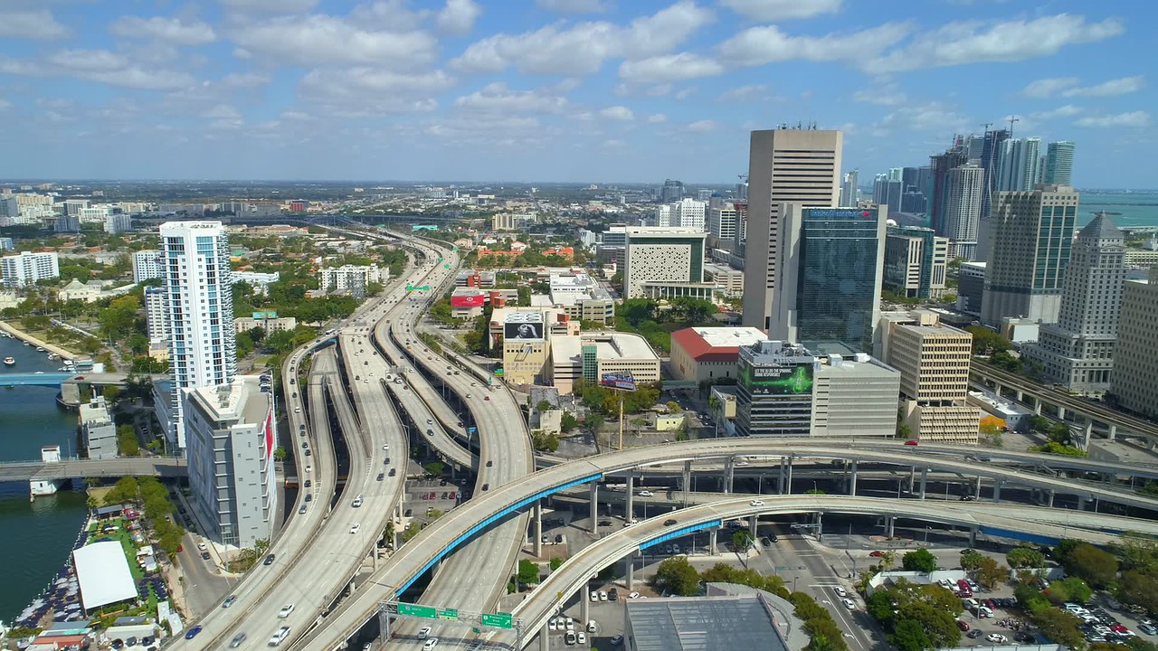 Aerial Miami City Tour 4k stock footage