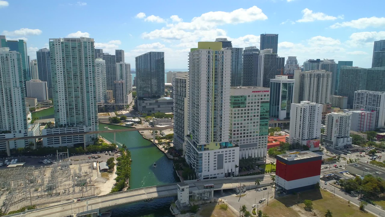 Aerial lateral footage Miami Downtown Brickell River