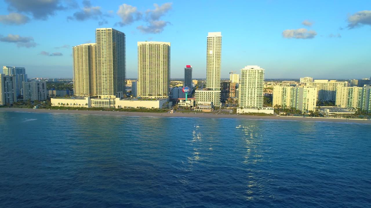 Drone aerial flight footage Hallandale Beach Florida 4k 24p