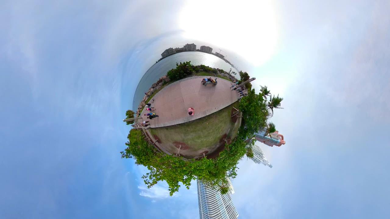 Tiny globe miniature planet Miami Beach Florida Smith Wollensky