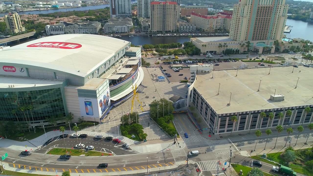 Aerial lateral motion video Amalie Arena Stadium Tampa FL 4k 60p