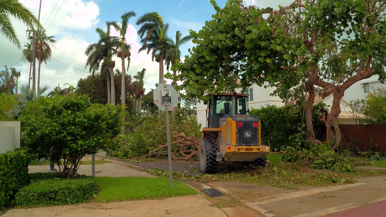 Wheel loader clearning debris after Hurricane Irma Miami Beach