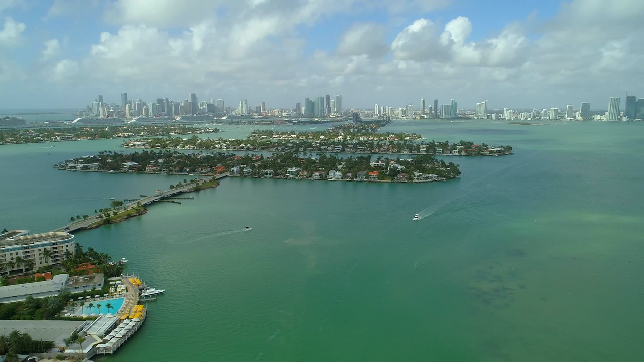 Aerial drone footage Venetian Islands and Belle Isle Miami Beach Florida